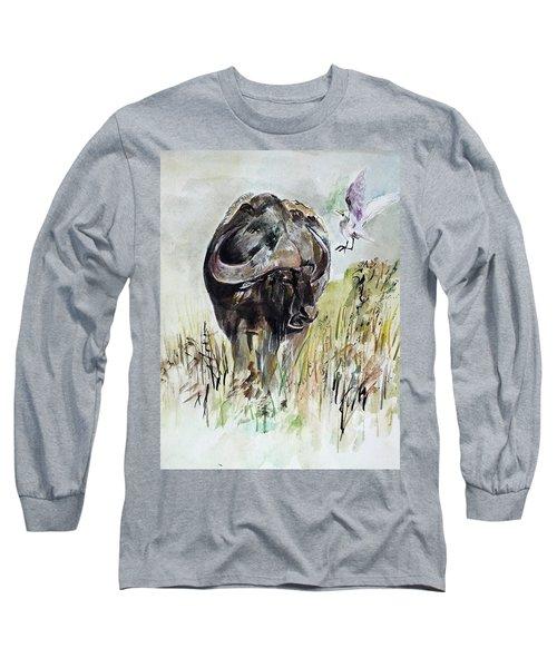 Buffalo Long Sleeve T-Shirt by Khalid Saeed