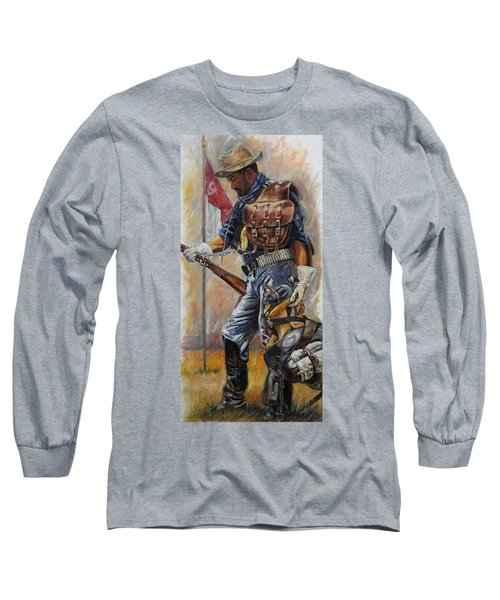 Long Sleeve T-Shirt featuring the painting Buffalo Soldier Outfitted by Harvie Brown