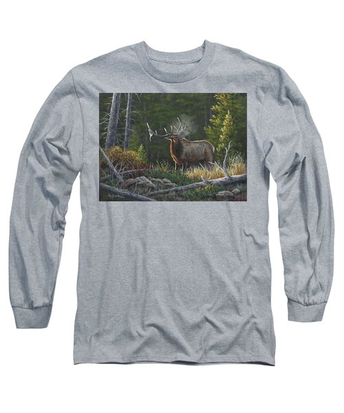 Long Sleeve T-Shirt featuring the painting Bugling Bull by Kim Lockman