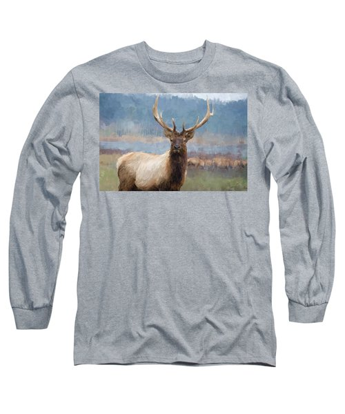 Bull Elk By The River Long Sleeve T-Shirt