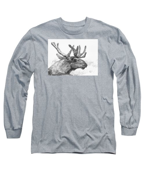 Long Sleeve T-Shirt featuring the drawing Bull Moose Study by Meagan  Visser