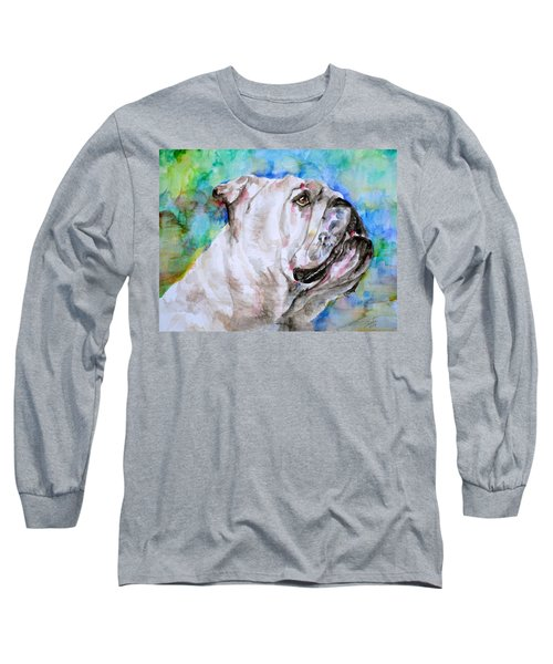 Long Sleeve T-Shirt featuring the painting Bulldog - Watercolor Portrait.4 by Fabrizio Cassetta