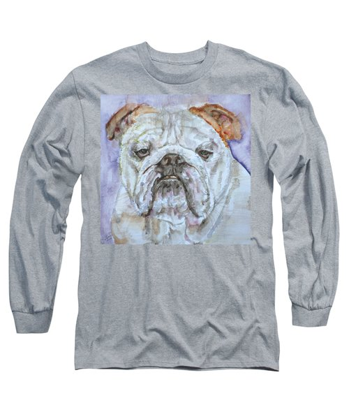Long Sleeve T-Shirt featuring the painting Bulldog - Watercolor Portrait.5 by Fabrizio Cassetta