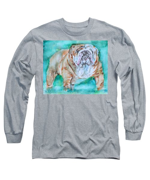 Long Sleeve T-Shirt featuring the painting Bulldog - Watercolor Portrait.6 by Fabrizio Cassetta