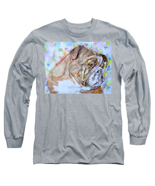 Long Sleeve T-Shirt featuring the painting Bulldog - Watercolor Portrait.7 by Fabrizio Cassetta