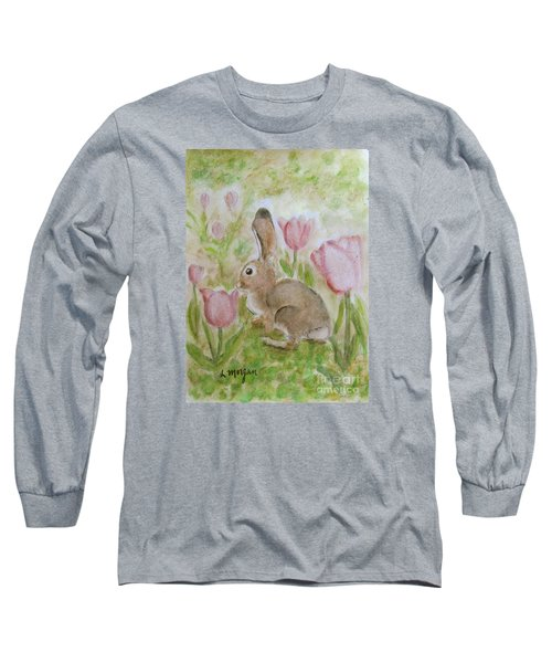 Bunny In The Tulips Long Sleeve T-Shirt by Laurie Morgan