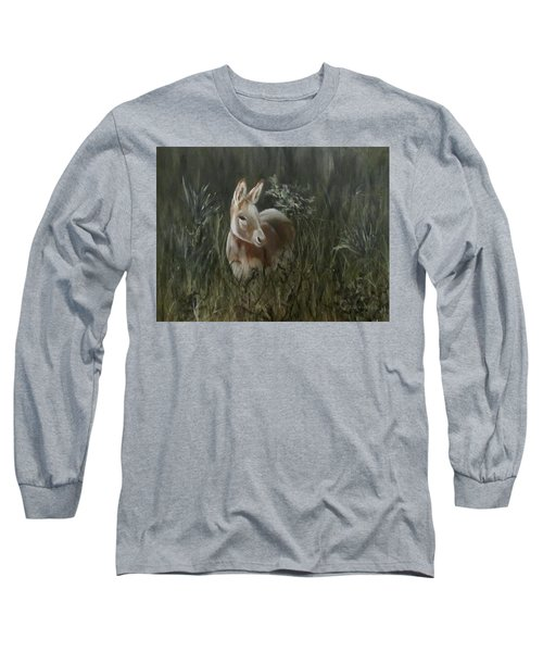 Long Sleeve T-Shirt featuring the painting Burro In The Wild by Roseann Gilmore