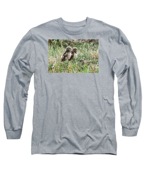 Burrowing Owlets Near Barr Lake Long Sleeve T-Shirt by Stephen  Johnson