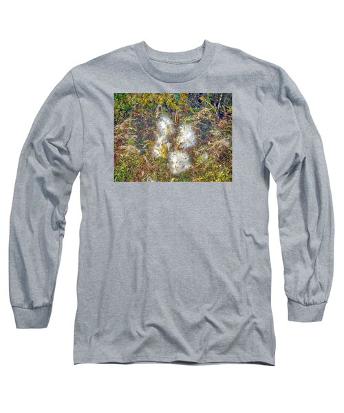 Long Sleeve T-Shirt featuring the photograph Bursting Milkweed Seed Pods by Constantine Gregory