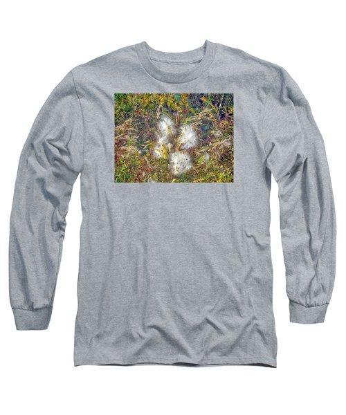 Bursting Milkweed Seed Pods Long Sleeve T-Shirt