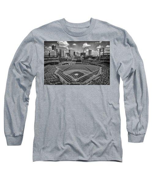 Busch Stadium St. Louis Cardinals Black White Ballpark Village Long Sleeve T-Shirt by David Haskett