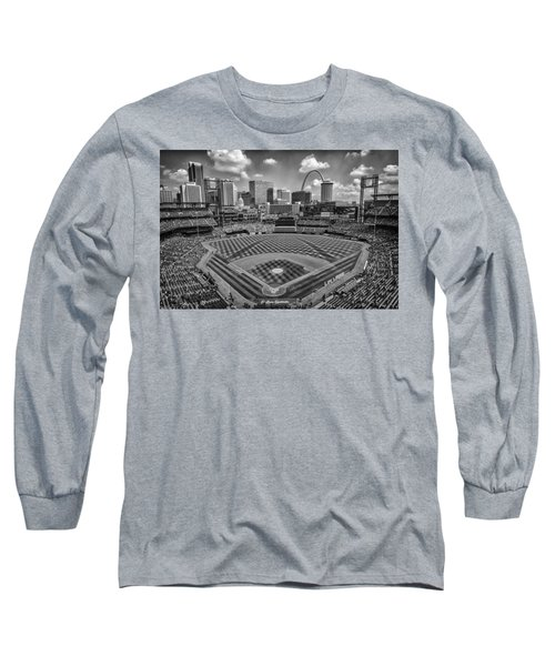 Busch Stadium St. Louis Cardinals Black White Ballpark Village Long Sleeve T-Shirt