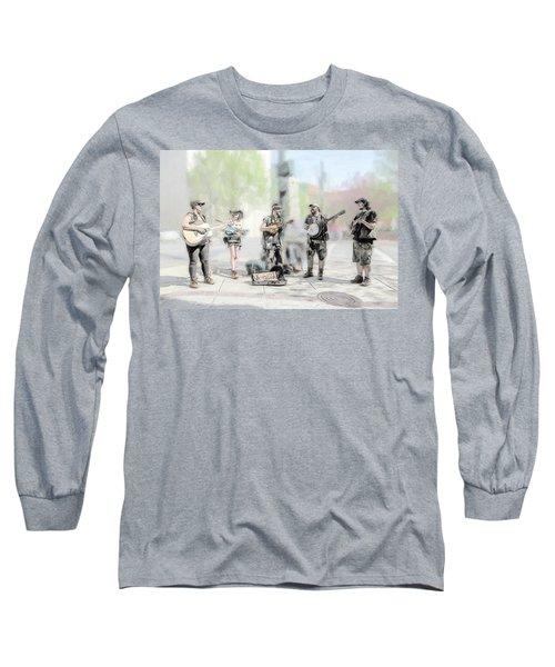 Busker Quintet Long Sleeve T-Shirt by John Haldane