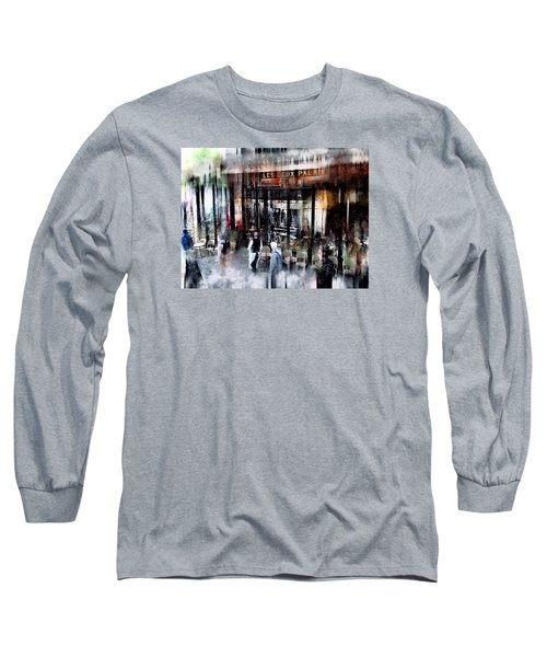 Busy Sidewalk Long Sleeve T-Shirt by John Rivera