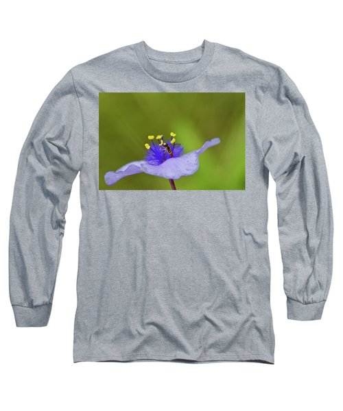 Long Sleeve T-Shirt featuring the photograph Busy Visitor - Syrphid Fly On Spiderwort by Jane Eleanor Nicholas