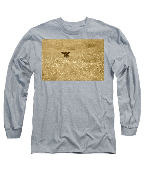 Buttercup In Sepia Long Sleeve T-Shirt by JD Grimes