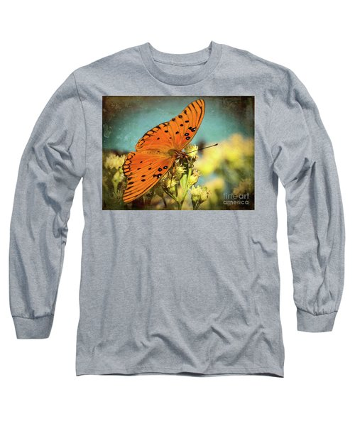 Butterfly Enjoying The Nectar Long Sleeve T-Shirt by Scott and Dixie Wiley