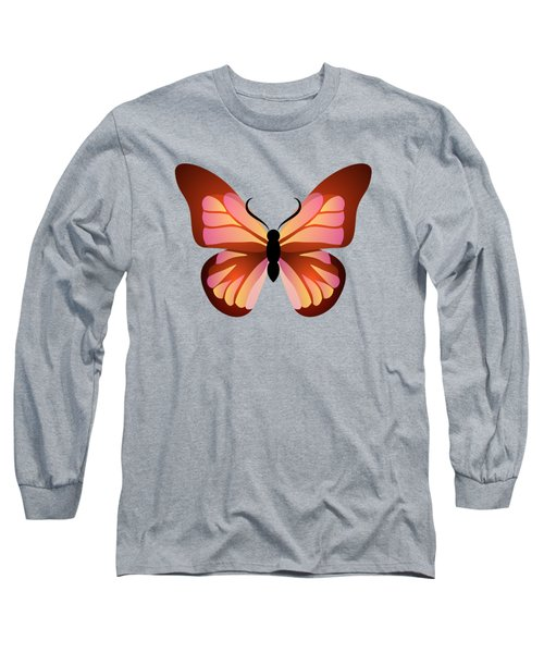 Butterfly Graphic Pink And Orange Long Sleeve T-Shirt
