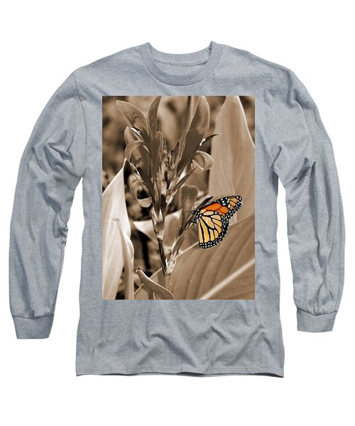 Butterfly In Sepia Long Sleeve T-Shirt