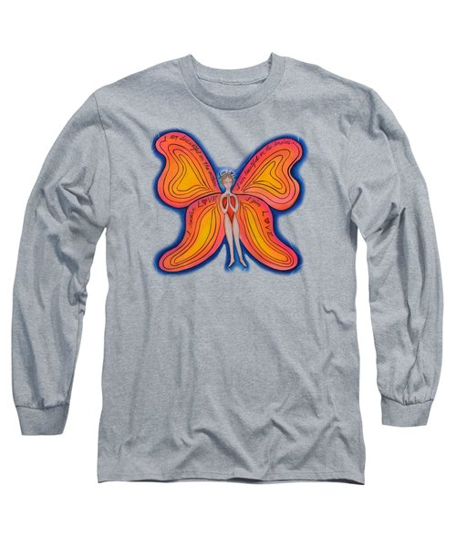 Long Sleeve T-Shirt featuring the painting Butterfly Mantra by Deborha Kerr
