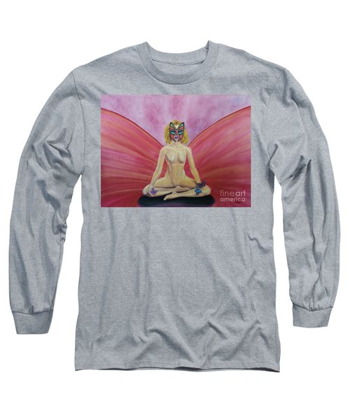 Long Sleeve T-Shirt featuring the painting Butterfly Meditation by Steed Edwards