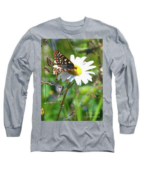 Butterfly On A Wild Daisy Long Sleeve T-Shirt