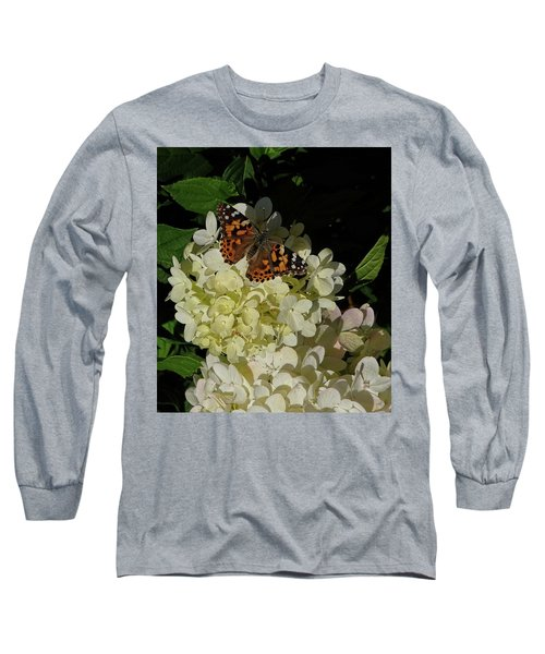 Butterfly On Hydrangea Long Sleeve T-Shirt