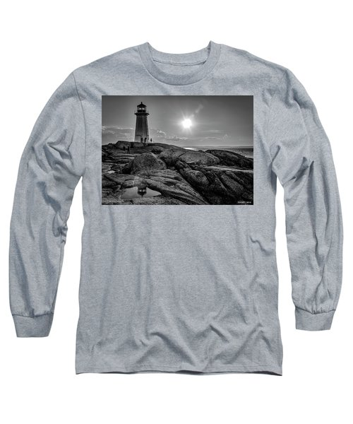 Bw Of Iconic Lighthouse At Peggys Cove  Long Sleeve T-Shirt by Ken Morris