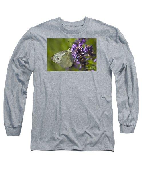 Long Sleeve T-Shirt featuring the photograph Cabbage White Butterfly by Inge Riis McDonald