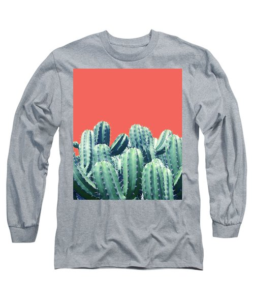 Cactus On Coral Long Sleeve T-Shirt