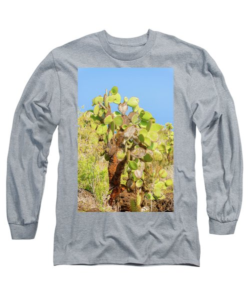 Cactus Trees In Galapagos Islands Long Sleeve T-Shirt by Marek Poplawski