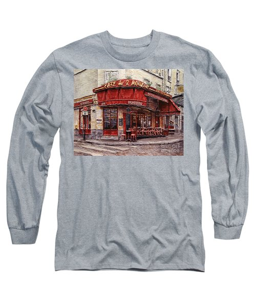 Long Sleeve T-Shirt featuring the painting Cafe Des 2 Moulins- Paris by Joey Agbayani