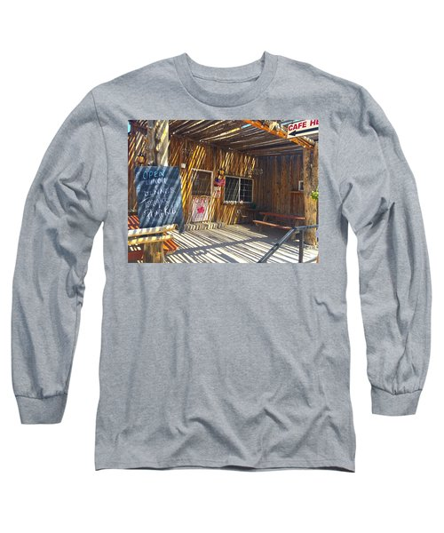 Long Sleeve T-Shirt featuring the photograph Cafe In Stripes by Susan Crossman Buscho