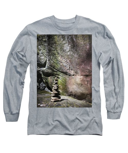 Cairn Rock Stack At Jones Gap State Park Long Sleeve T-Shirt by Kelly Hazel