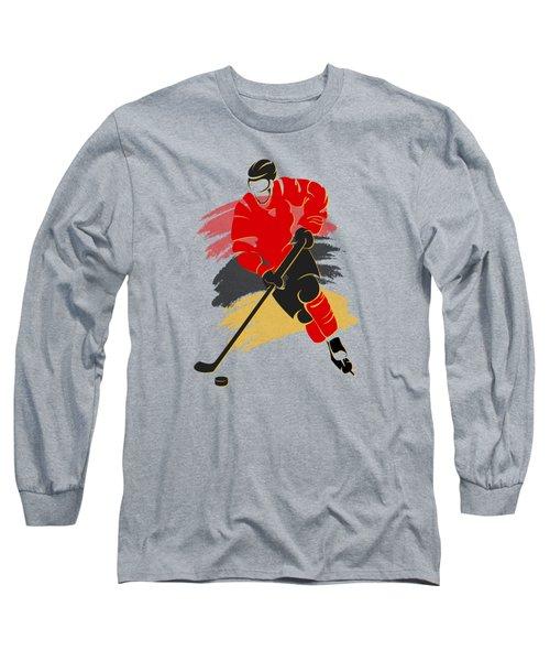 Calgary Flames Player Shirt Long Sleeve T-Shirt by Joe Hamilton