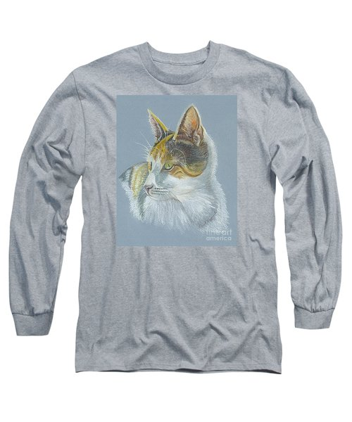 Long Sleeve T-Shirt featuring the drawing Calico Callie by Carol Wisniewski