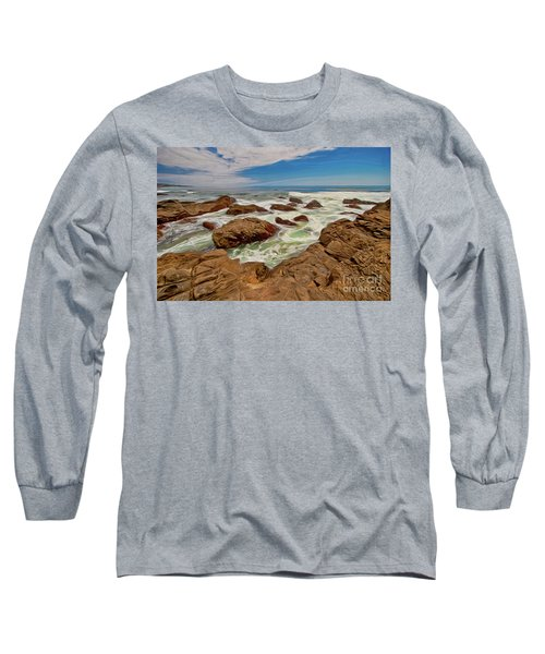 California Coast Waves On Rocks Ap Long Sleeve T-Shirt by Dan Carmichael
