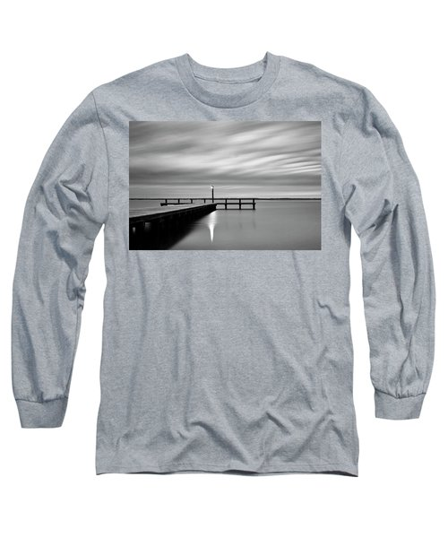 Calm Barnegat Bay New Jersey Black And White Long Sleeve T-Shirt