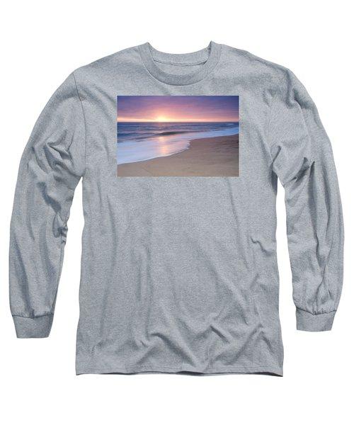 Calm Beach Waves During Sunset Long Sleeve T-Shirt