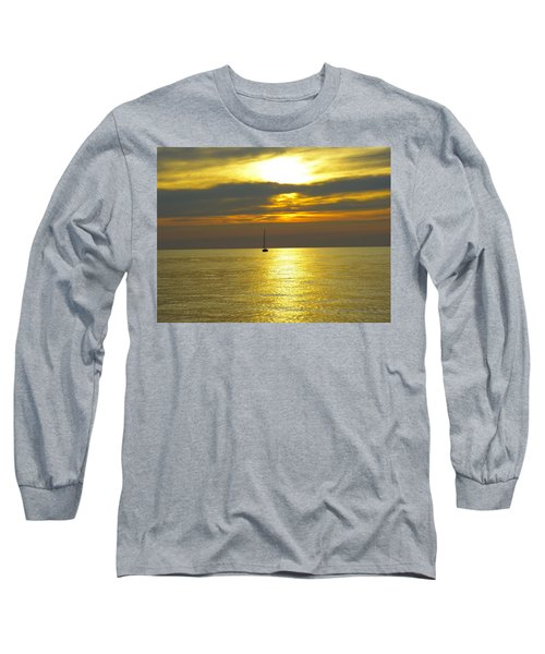 Calm Before Sunset Over Lake Erie Long Sleeve T-Shirt by Donald C Morgan