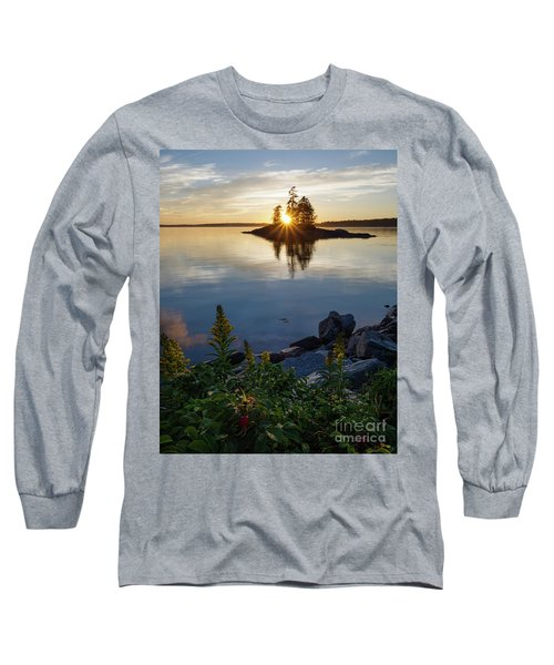Long Sleeve T-Shirt featuring the photograph Calm Water At Sunset, Harpswell, Maine -99056-99058 by John Bald