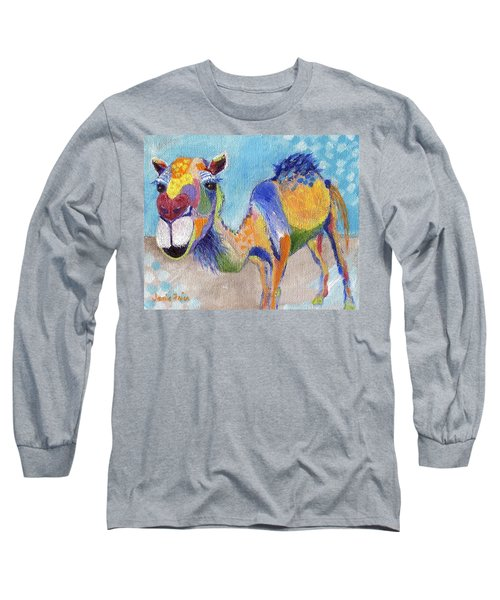 Long Sleeve T-Shirt featuring the painting Camelorful by Jamie Frier