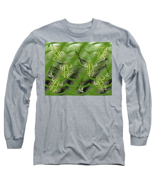 Long Sleeve T-Shirt featuring the photograph Camo Frog Dragonfly by Rockin Docks Deluxephotos