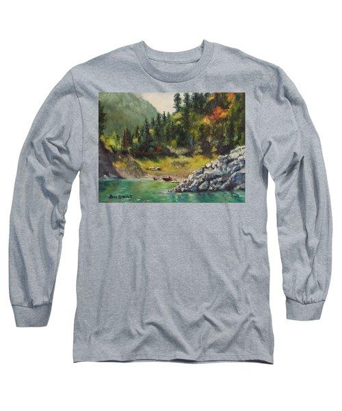 Camping On The Lake Shore Long Sleeve T-Shirt by Lori Brackett