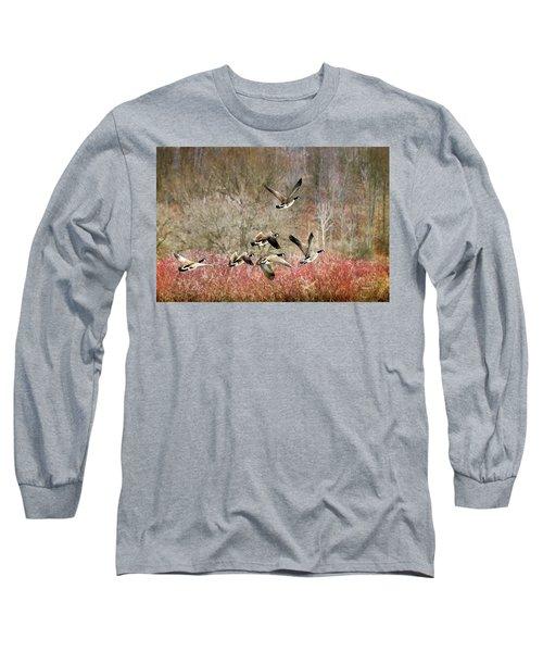 Canada Geese In Flight Long Sleeve T-Shirt