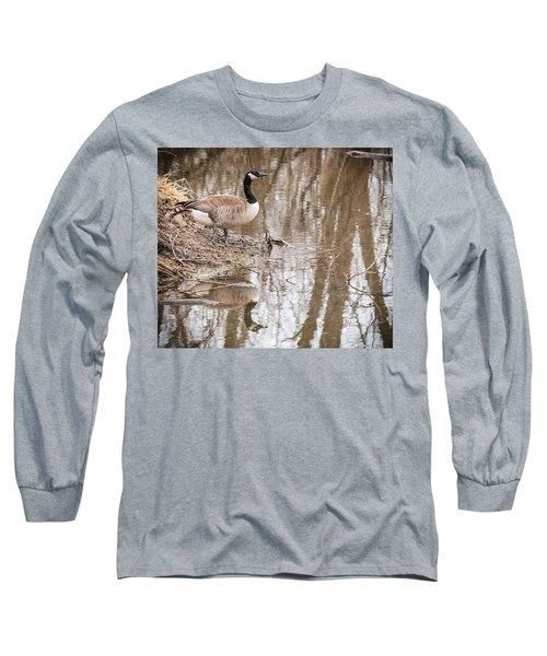Canada Geese Reflection Long Sleeve T-Shirt by Edward Peterson