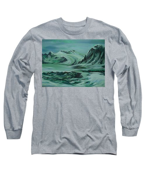 Long Sleeve T-Shirt featuring the painting Canadian North by Anna  Duyunova