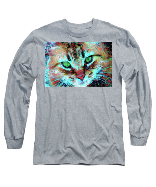 Candy The Colorful Green Eyed Cat Long Sleeve T-Shirt