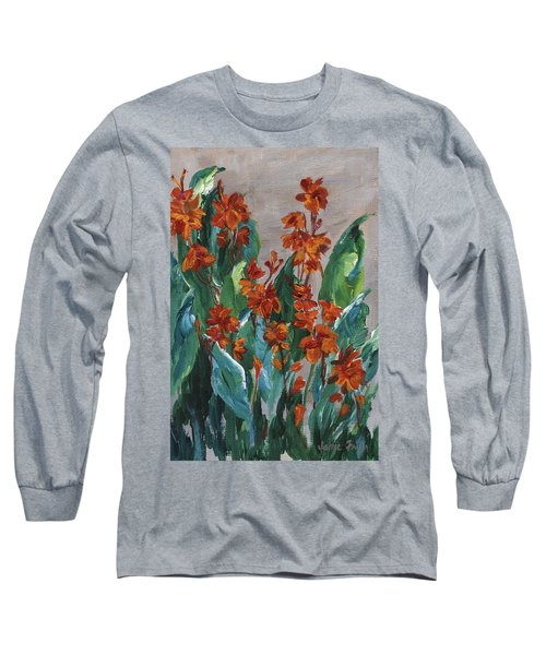 Long Sleeve T-Shirt featuring the painting Cannas by Jamie Frier