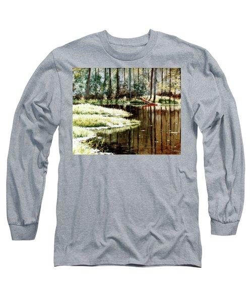 Canoe On Pond Long Sleeve T-Shirt